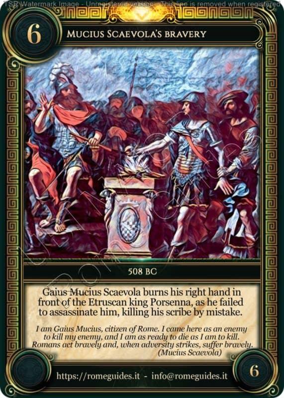 Ubi Maior Rome Card Mucius Scaevola Bravery, Ubi Maior – Card 06, Rome Guides