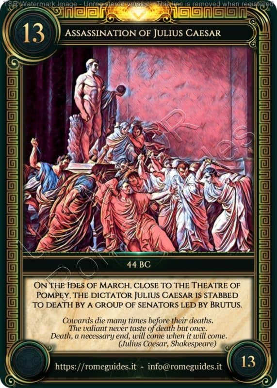 Ubi Maior Rome Card Assassination Julius Caesar, Ubi Maior – Card 13, Rome Guides