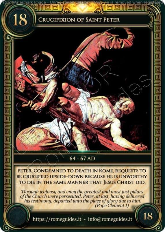 Ubi Maior Rome Card Crucifixion of Saint Peter, Ubi Maior – Card 18, Rome Guides