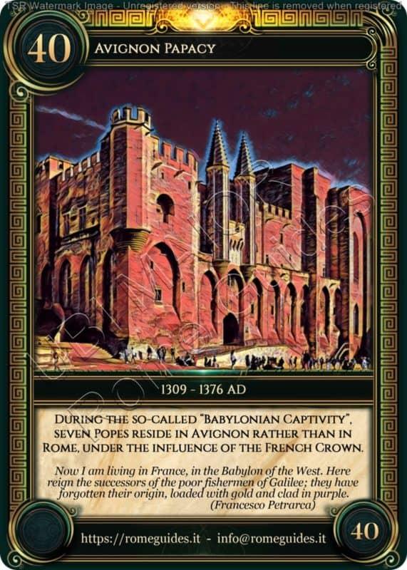 Ubi Maior Rome Card Avignon Papacy, Ubi Maior – Card 40, Rome Guides