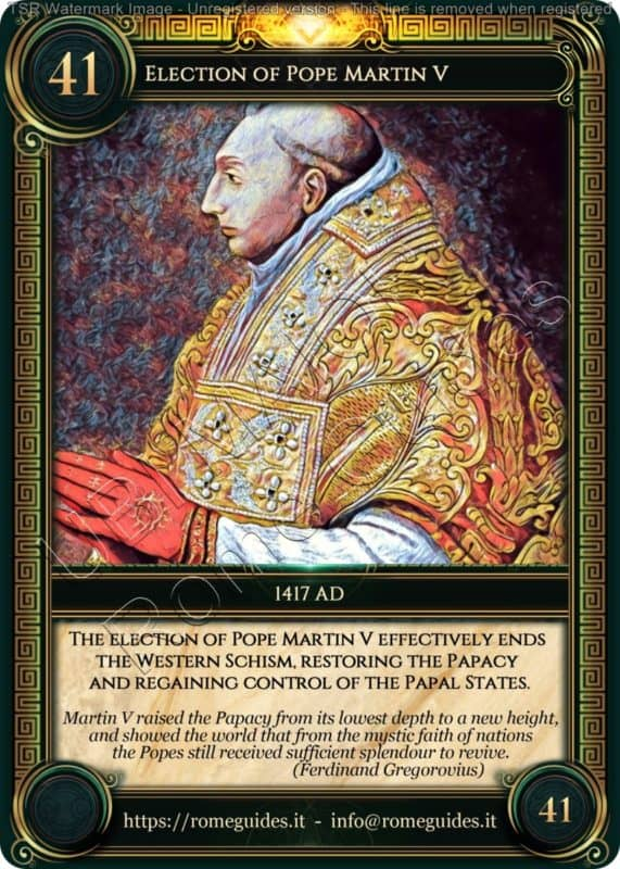 Ubi Maior Rome Card Election Pope Martin V, Ubi Maior – Card 41, Rome Guides