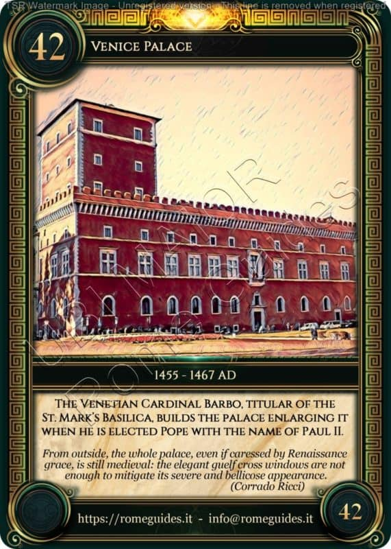 Ubi Maior Rome Card Venice Palace, Ubi Maior – Card 42, Rome Guides
