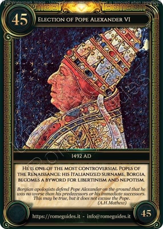Ubi Maior Rome Card Election Pope Alexander VI, Ubi Maior – Card 45, Rome Guides