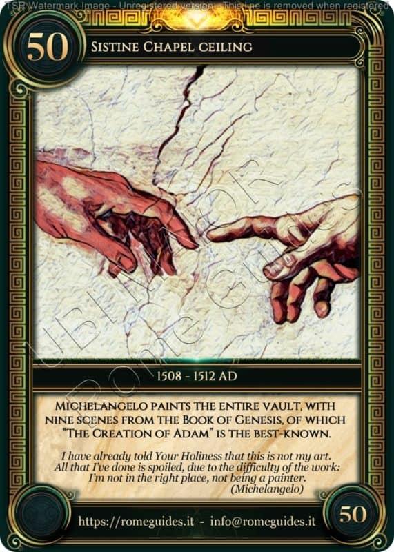 Ubi Maior Rome Card Sistine Chapel Ceiling, Ubi Maior – Card 50, Rome Guides