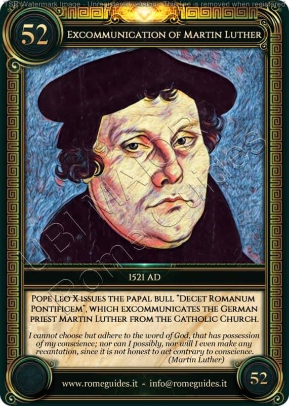 Ubi Maior Rome Card Excommunication of Martin Luther, Ubi Maior – Card 52, Rome Guides