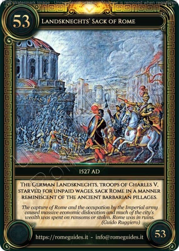 Ubi Maior Rome Card Landsknechts Sack of Rome, Ubi Maior – Card 53, Rome Guides