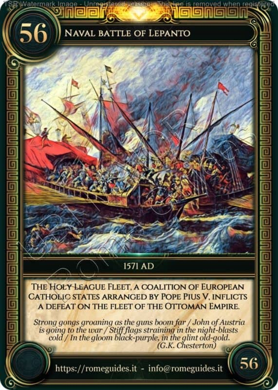 Ubi Maior Rome Card Naval Battle Lepanto, Ubi Maior – Card 56, Rome Guides