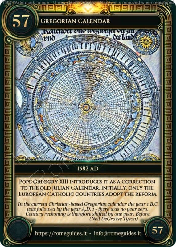 Ubi Maior Rome Card Gregorian Calendar, Ubi Maior – Card 57, Rome Guides