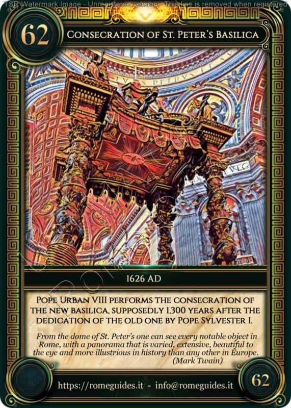 Ubi Maior Rome Card Consecration St. Peter's Basilica, Ubi Maior – Card 62, Rome Guides
