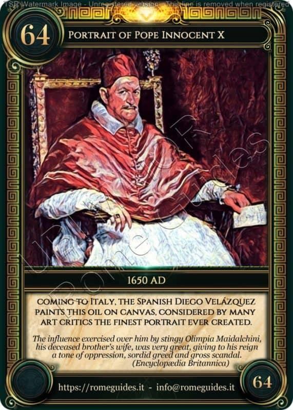 Ubi Maior Rome Card Portrait Pope Innocent X, Ubi Maior – Card 64, Rome Guides