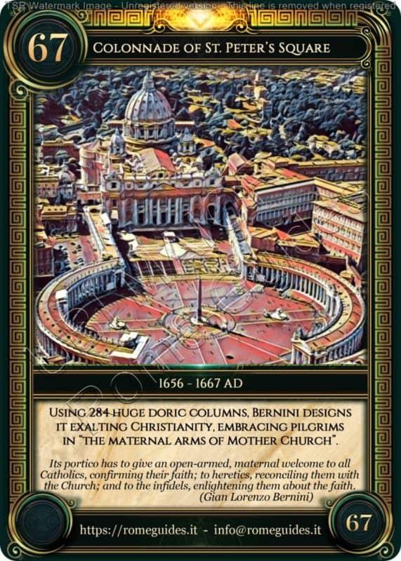 Ubi Maior Rome Card Colonnade of St. Peter's Square, Ubi Maior – Card 67, Rome Guides