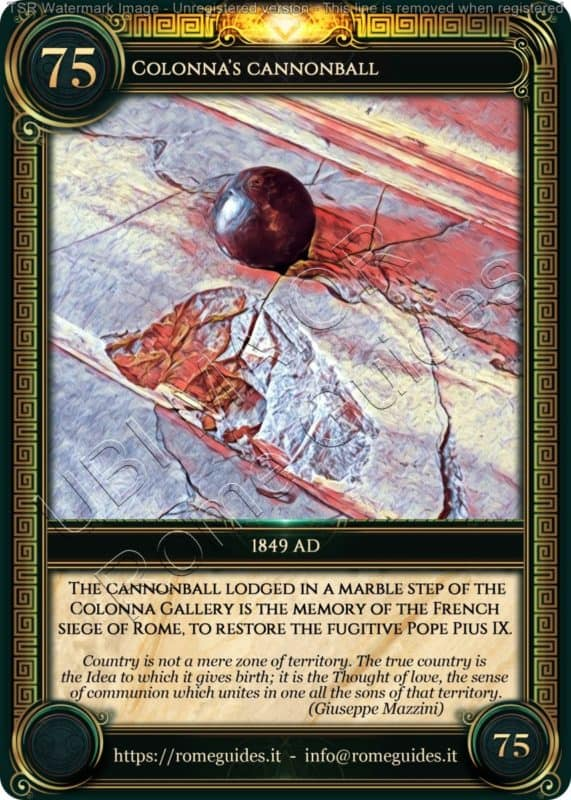 Ubi Maior Rome Card Colonna Cannonball, Ubi Maior – Card 75, Rome Guides