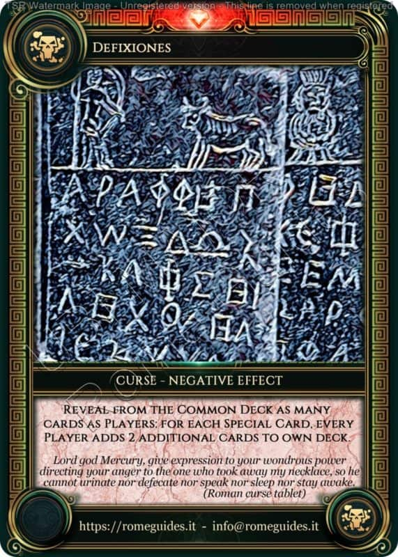 Ubi Maior Curse Card Defixiones, Ubi Maior – Curse Card 03, Rome Guides